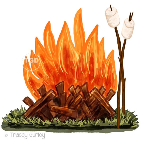 Campfire And Marshmallow Clip Art Watercolor