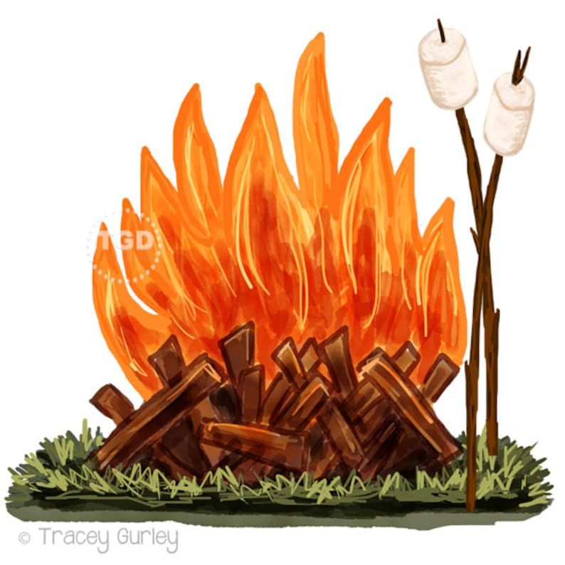 Campfire and Marshmallow Clip Art  watercolor Clip Art image 0