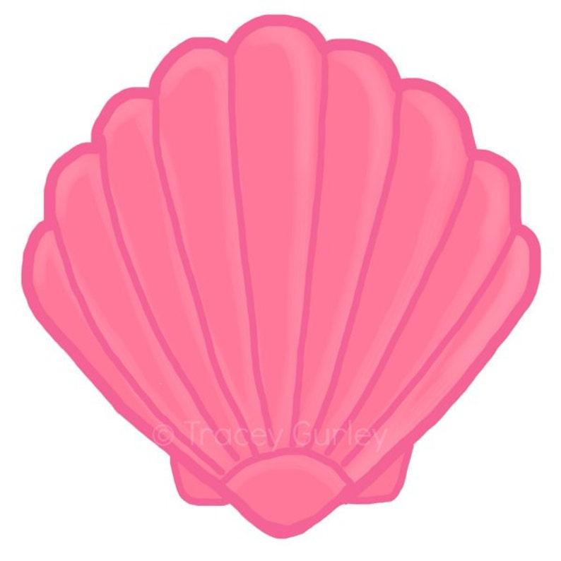 Pink Scallop Shell  Original art download 2 files scallop image 0