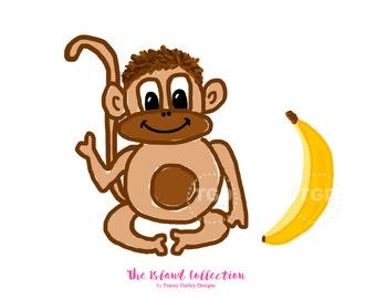 Monkey and Banana Clip Art - Original Art, monkey clipart, banana clip art, preppy clip art, invitation clipart, kids clipart, preppy prints