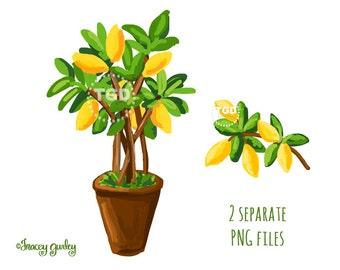 Lemon Tree clip art, watercolor clipart, Lemon fruit  branch clipart. commercial use, instant download