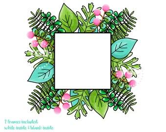 Watercolor Frame, watercolor greenery, watercolor clip art, digital download, preppy art, invitation clip art, watercolor leaves, scrapbook