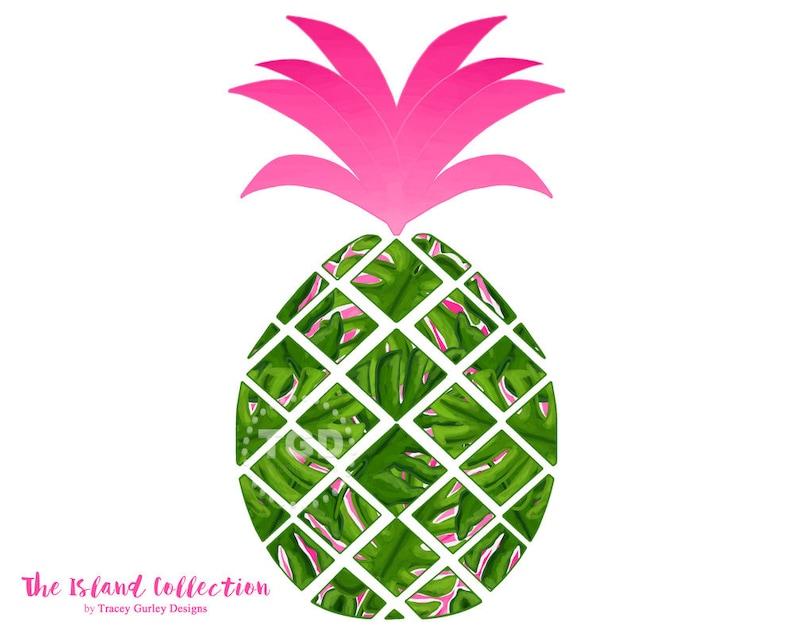 Preppy Pineapple clip art  Original Art download whimsical image 0