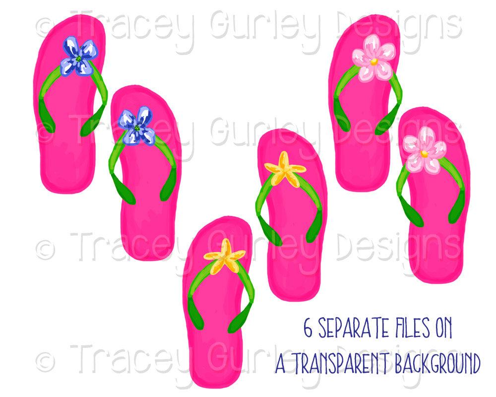 Flip flop clip art flip flops preppy art pink sandals | Etsy