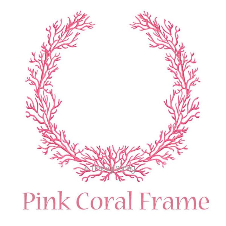 Pink Coral Frame  Original art download pink coral wreath image 0