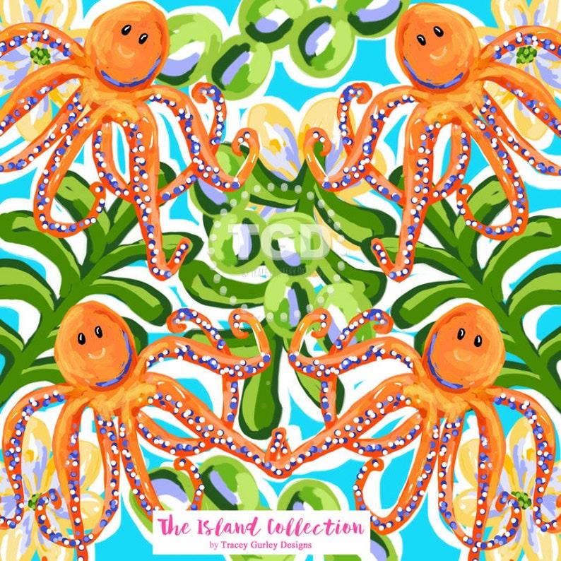 Preppy Octopus digital paper  Original Art download orange image 0