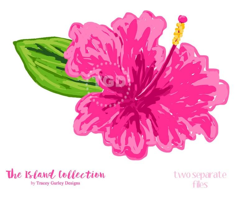 Preppy Pink Hibiscus clip art  Original Art download image 0