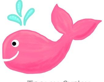 Pink Whale Original Art download, Pink whale clip art