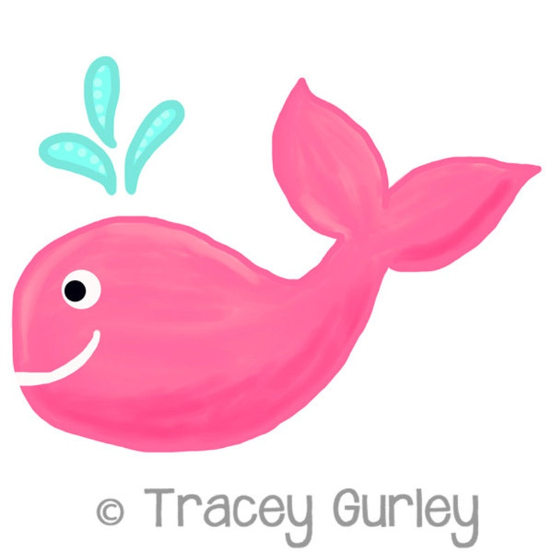 Pink Whale Original Art download Pink whale clip art image 0