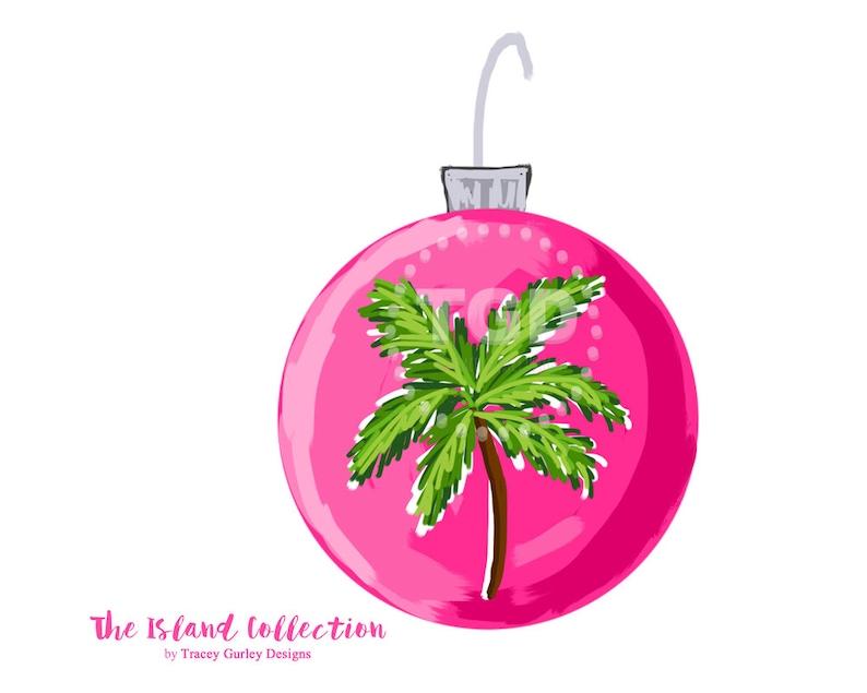 Preppy Pink Christmas Ornament Clip Art  Christmas Clipart image 0
