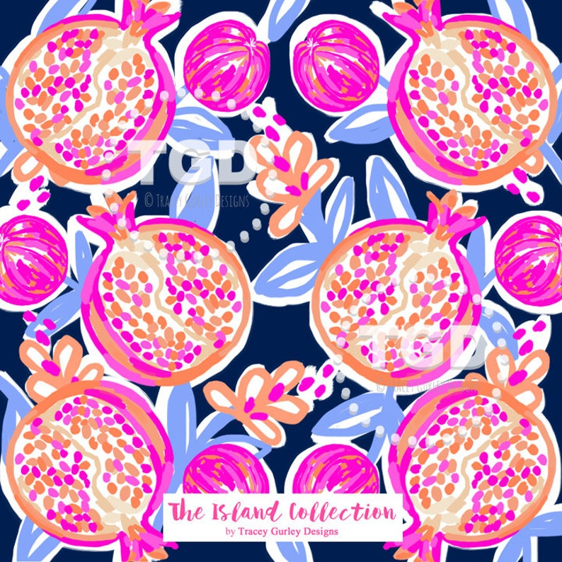 Preppy Pomegranate Design on Navy digital paper  Original Art image 0