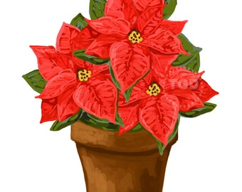 Red Poinsettia Clip Art Download  - holiday clip art, holiday graphic, poinsettia clip art, poinsettia graphic