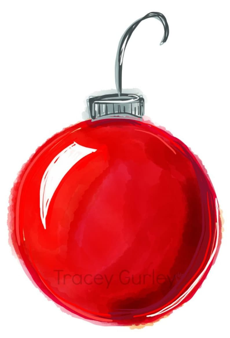 Red Christmas Ornament Watercolor hand painted clip art image 0