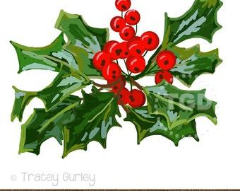 Holly Berries Clip Art, Digital Download, holiday clip art, holiday graphic, Christmas Clip Art, holly graphic, Christmas Clipart, printable