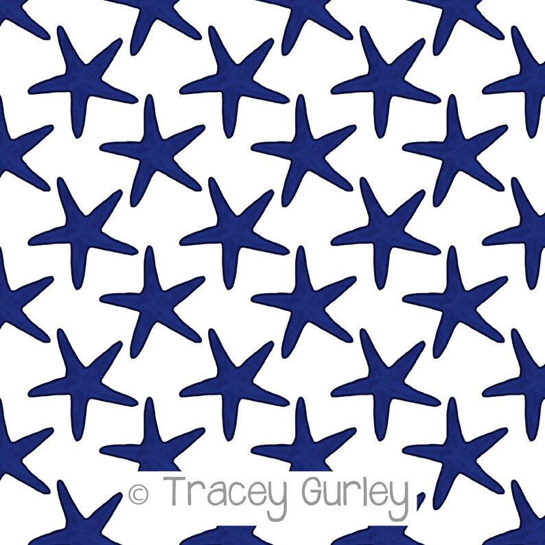 Navy Starfish Pattern Repeat on White  Original Art download image 0