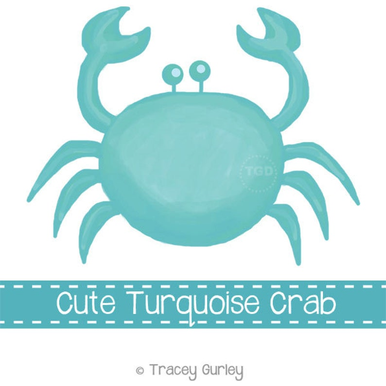Preppy Turquoise Crab  Original art download 2 files image 0