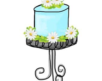 Turquoise Daisy Cake  - Original Art Digital Download, cake clip art, cake on stand art, cake on pedestal art