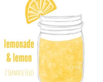 Lemonade Mason Jar Clip Art - Mason jar with lemon, Invitation, Paper Goods Clip Art, Mason Jar printable
