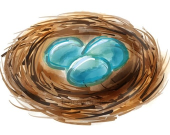 Nest with eggs - Original Art Digital Download - Illustration
