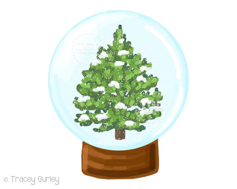 Snow globe Christmas clipart winter clipart winter scene image 0