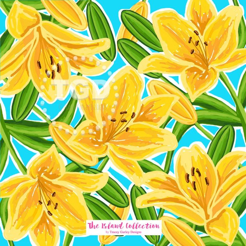Lily flower digital paper  floral digital paper preppy image 0