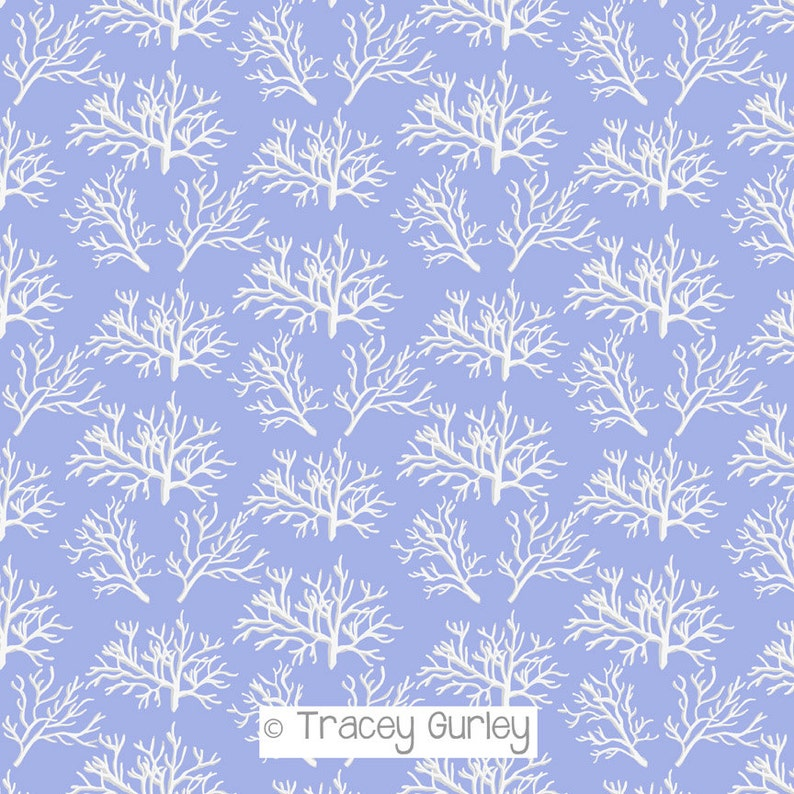 White Coral Pattern Repeat on Periwinkle  Original Art image 0