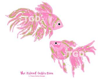 Preppy Pink Fish clip art - Original Art download, preppy clip art, fish clip art, cute fish clip art, Tracey Gurley Designs
