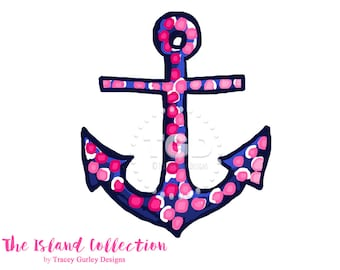 Preppy Pink and Navy Anchor Clip Art - Original Art download, anchor clip art, preppy clip art, The Island Collection
