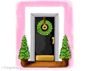 Pink house clipart, pink house illustration, southern chic, wreath clip art, door art, door prints, southern charm, Charleston art, Savannah
