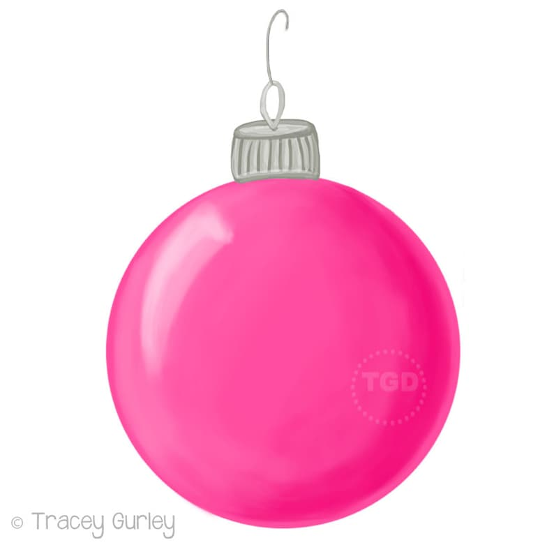 Pink Christmas Ornament Clip Art  Hand Painted Clip Art image 0