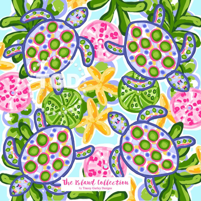 Preppy sea turtle digital paper preppy print watercolor image 0