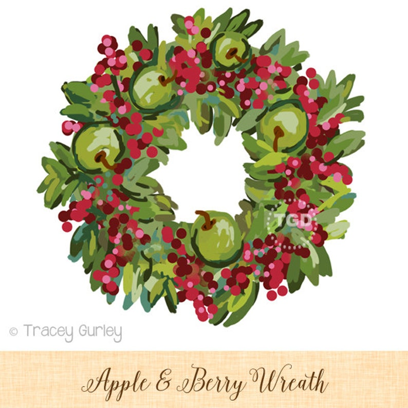 Wreath clip art with Apples and Berries Invitation Art image 0