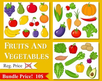 Items Similar To Healty Food Clipart Sale Fruits Vegetables Digital