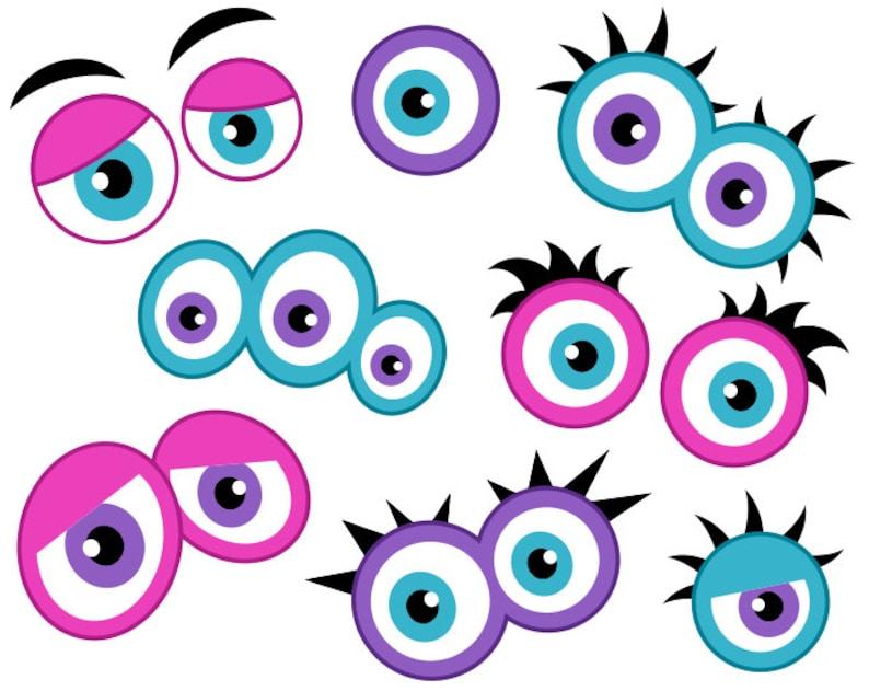 9b42aac06742 Girly Monster Eyes Digital Clip Art Cute Monster Eyes