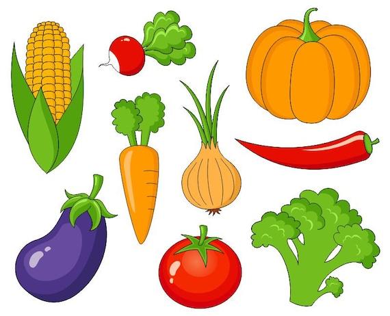 Cute Veggies 1 inch magnets 6 cute vegetable illustrations