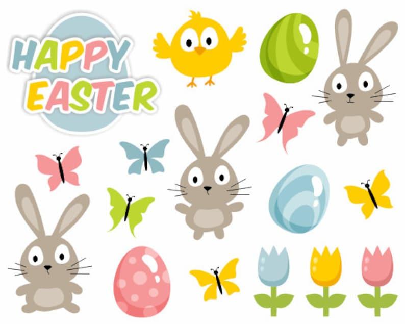 Frohe Ostern Digital Clipart Süße Ostern Illustration Etsy