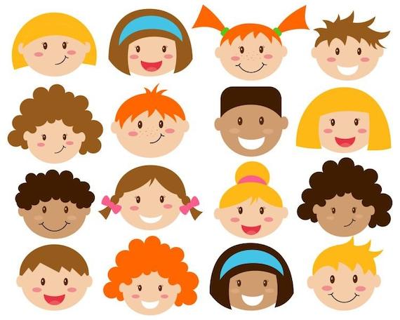 ec8e381d3 Kids Faces Digital Clipart Cute Kids Clip Art Children Head