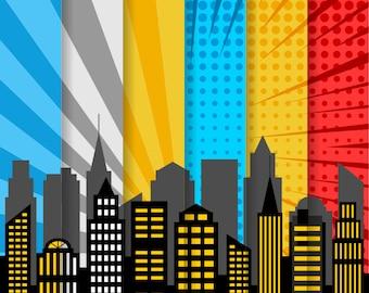 City Skyline Digital Paper, Superhero Digital Background, Comic Book Scrapbook Paper, Pop Art, Printable Paper Pack - YDP015