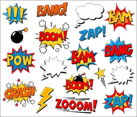 Superheld Clipart Comic Book Clip Art Comic Text Sprechblasen Boom Zap Bang Bam Crash Pow Sounds Spruche Ydc132