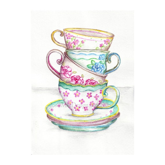 Items similar to Watercolor Tea Cups Art Kitchen Painting ...