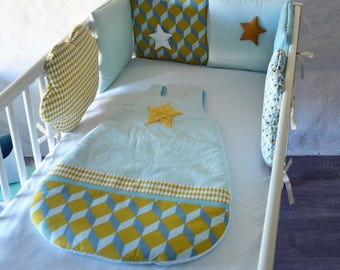 Gigoteuse graphic star mint, mustard, white