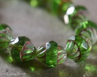 Emerald Twist (6) Czech Glass Bead - 10x11mm - Turbine
