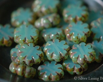 Sea Green Blooms (10) - Czech Glass Bead - 9x3mm - Cactus Flower