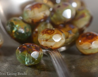 Piney Woods - Czech Glass Bead (10) - 6x8mm - Faceted Rondelle