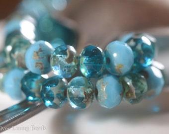 Aqua Crush - 10 - Premium Czech Glass Rondelle Beads - 7x5mm