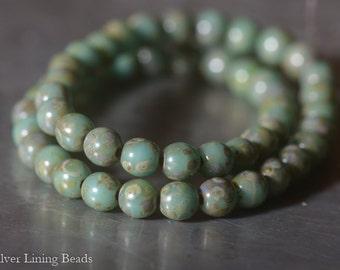 NEW! Ancient Jade Dots (50)  - Czech Glass Bead - 4mm - Druk