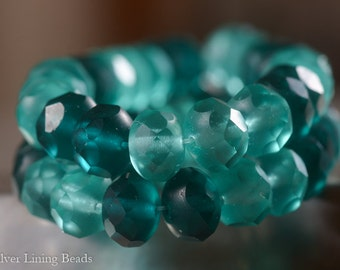 BACK IN STOCK! Aegean (10) - Czech Glass Bead - 6x8mm - Faceted Rondelle