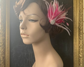 Prudence pink fuschia pearl wedding feathered vintage style headpiece fascinator bridal hair adornment feather hair clip Ready to Ship