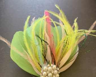 Emmie spring green Pastel rainbow wedding feathered vintage style headpiece fascinator bridal hair adornment feather hair clip free shipping