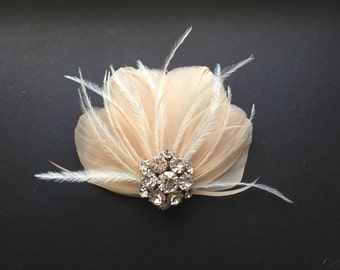 Audrey Made to Order Art Deco Vintage Style Feathered Bridal Headpiece Flapper Wedding free shipping